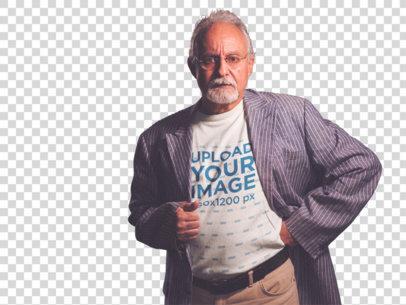 Transparent T-Shirt Mockup of a Senior Man with a Suit Coat a12387