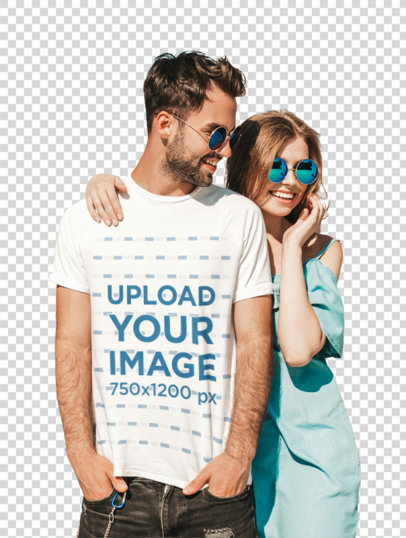 Transparent T-Shirt Mockup of a Man with Sunglasses Hanging Out with His Girlfriend m1938-r-el2
