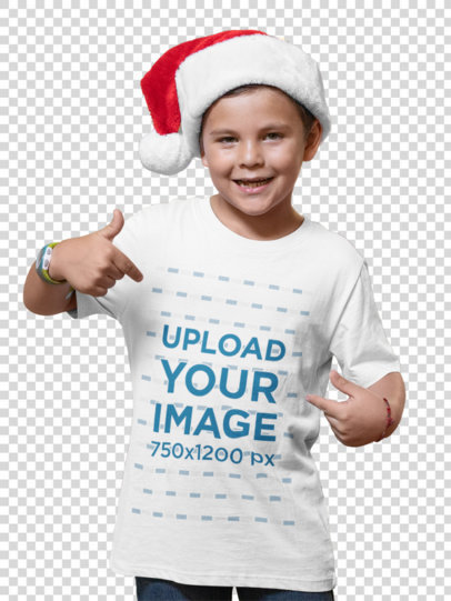 Transparent Christmas Mockup of a Kid with a Santa Claus Hat Pointing at His T-Shirt 30205