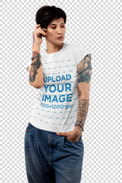 Transparent T-Shirt Mockup Featuring a Tattooed Woman with an Androgynous Look at a Studio 32924