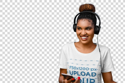 Transparent T-Shirt Mockup of a Happy Woman Listening to Music with a Pair of Headphones 36397-r-el2