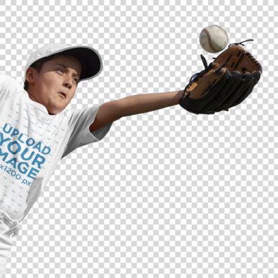 Transparent Baseball Uniform Designer - Pitcher Kid Trying to Catch a Ball a16409