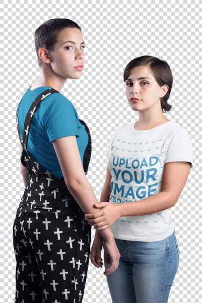 Transparent T-Shirt Mockup of a Woman Holding Hands with Her Girlfriend a19979