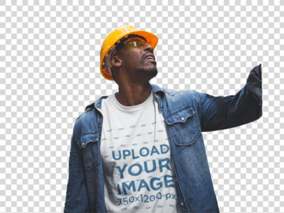 Transparent Industrial Worker Checking Out a Forklift Wearing a T-Shirt Mockup a20385