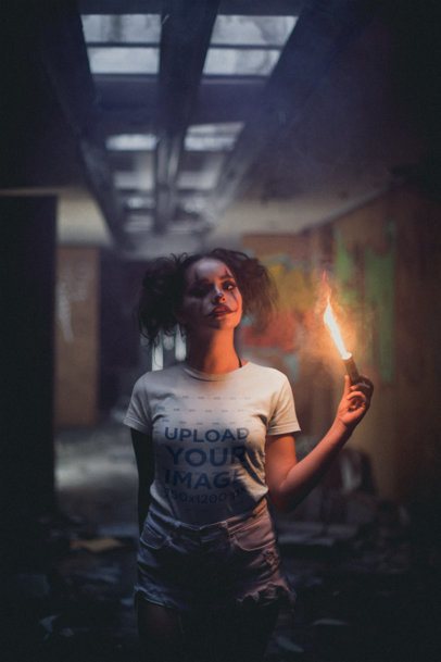 Transparent T-Shirt Mockup of a Girl with Halloween Makeup Holding a Flare 22931