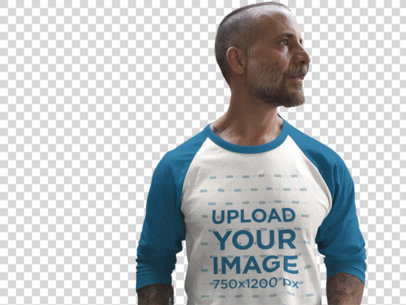 Transparent Mockup of a Raglan Tee Featuring a Man in an Elevator 12617a
