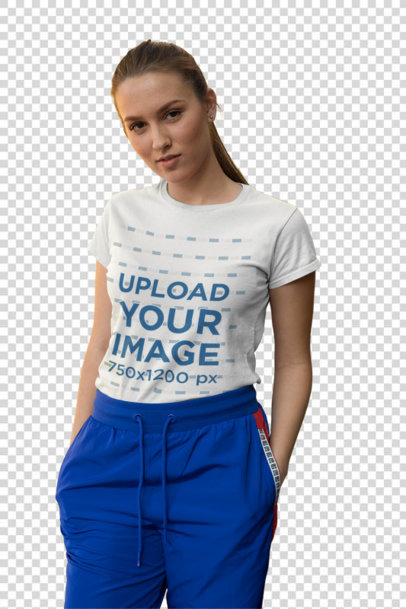 Transparent Tee Mockup of a Fashionable Girl Standing by an Old Stairway 26284