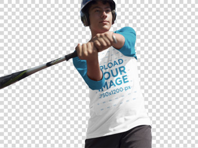 Transparent Baseball Uniform Designer - Boy About to Hit the Ball a16367