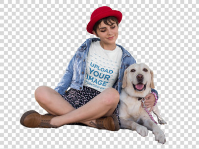 Transparent Girl at a Park with her Dog Wearing a Tshirt Mockup a17983
