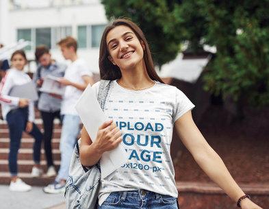 Transparent T-Shirt Mockup Featuring a Happy Woman at College 46546-r-el2