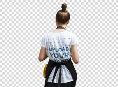Transparent Back-View T-Shirt Mockup of a Woman at a Plant Nursery 44077-r-el2