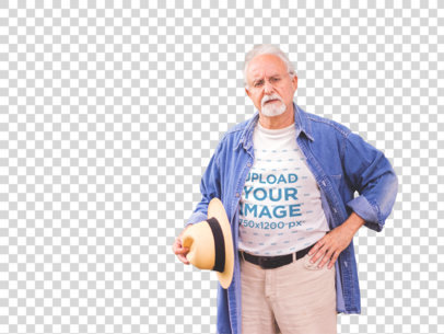 Transparent T-Shirt Mockup of a White Senior Man Out by a Garden a12388