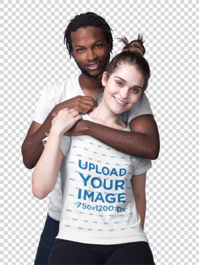 Transparent Mockup of a Man Hugging a Woman and Wearing T-Shirts 19950