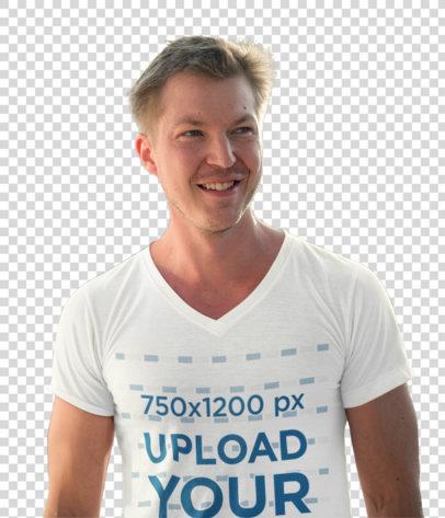Transparent Mockup of a Happy Man Wearing a V-Neck T-Shirt 40521-r-el2