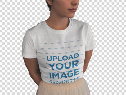 Transparent Closeup of a Cropped Face Girl Wearing a T-Shirt Mockup and a Skirt Near Plants a18469
