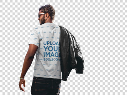 Transparent Man Carrying a Black Leather Jacket Wearing a Sublimated T-Shirt Mockup a9525b