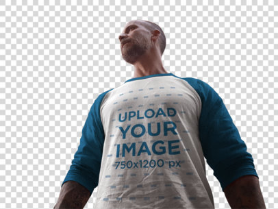 Transparent Raglan T-Shirt Mockup Featuring a Middle-Aged Man Out in the Street a12618
