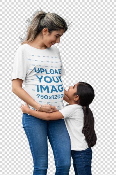 Transparent T-Shirt Mockup Featuring a Little Girl Hugging Her Mother 32250