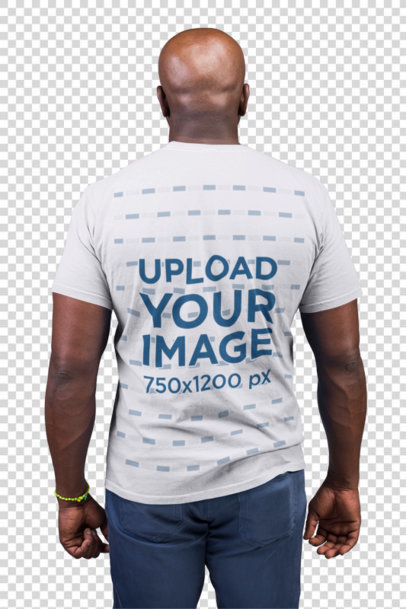 Transparent Back Shot Tshirt Mockup Featuring a Bald Man 21478