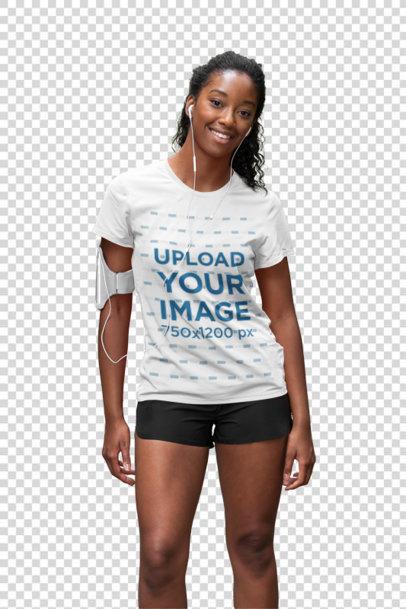 Transparent T-Shirt Mockup of a Woman Training Outdoors 36396-r-el2
