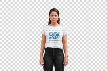 Transparent Mockup of a Young Woman Wearing a Sublimated Crop Top 28556