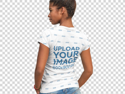 Transparent Back Shot of a Woman Wearing a Sublimated Tee Facing a Concrete Wall a9646b