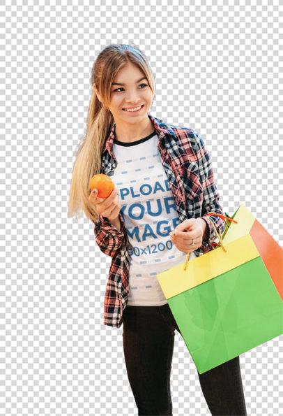 Transparent Ringer Tee Mockup of a Woman Shopping Fresh Fruits 42892-r-el2