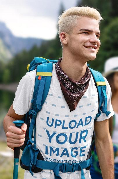 Transparent Mockup of a Young Hiker Wearing a T-Shirt 42059-r-el2