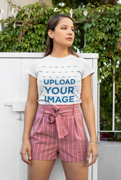 Transparent Mockup of a Woman Wearing a Tucked T-Shirt with Shorts 28201