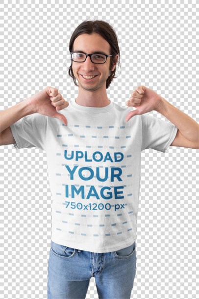 Transparent Mockup of a Happy Customer with Glasses Pointing His Own T-Shirt 26224