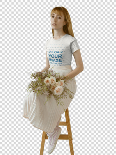 Transparent Girl Wearing a Round Neck T-Shirt Mockup while Holding Flowers on her Lap a18362