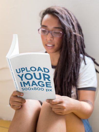 Mockup Featuring a Woman with Glasses Reading a Book a17307