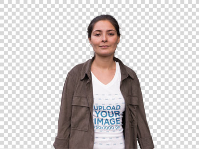 Transparent Urban Style Girl Wearing a Jacket and T-Shirt Mockup a11851