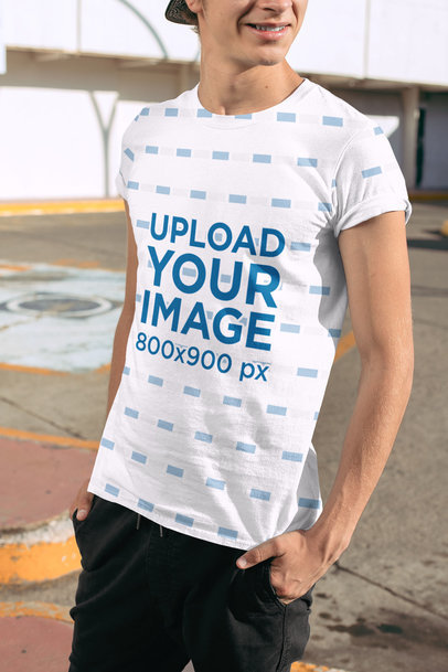 Transparent Sublimated Tee Mockup Featuring a Smiling Man at a Parking Lot 31120