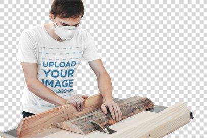 Transparent T-Shirt Mockup Featuring a Man Cutting Wood 38033-r-el2