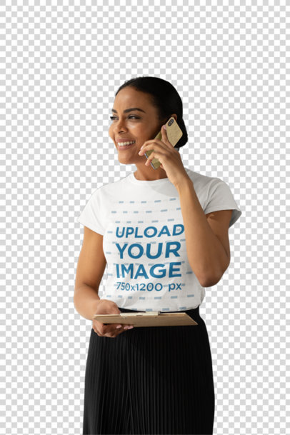 Transparent T-Shirt Mockup of a Woman Speaking on the Phone at an Office Hallway 31700