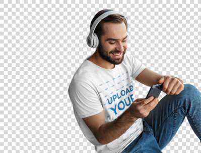Transparent Mockup of a Man Wearing a T-Shirt While Listening to Music at Home 40571-r-el2