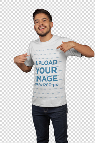Transparent Mockup of a Happy Customer Pointing to His eSports T-Shirt 21119