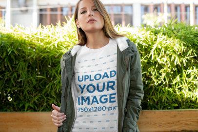 Transparent T-Shirt Mockup of a Young Woman Wearing a Huntress Jacket 28205