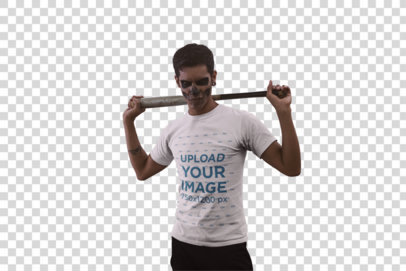 Transparent Halloween T-Shirt Mockup Featuring a Man with Skull Make-Up Holding a Baseball Bat Against his Back 23022