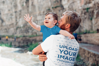 Transparent Back-View T-Shirt Mockup of a Man Holding His Baby Boy 37654-r-el2