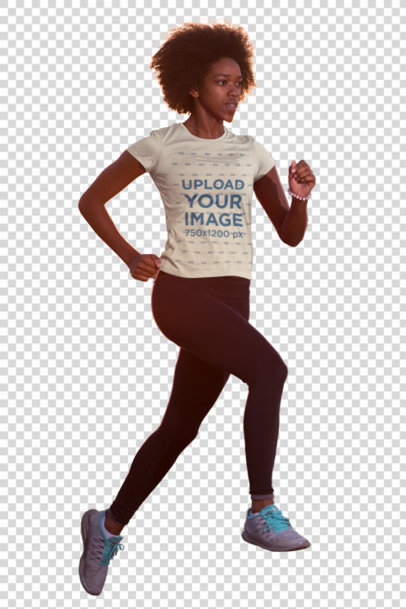 Transparent T-Shirt Mockup of a Woman Running in the Afternoon 45393-r-el2