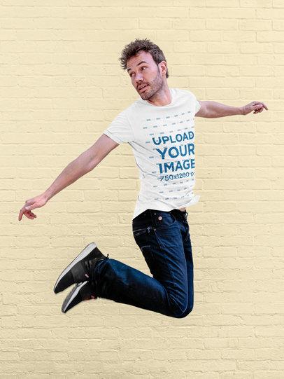 Transparent T-Shirt Mockup Featuring a Man Jumping 34960-r-el2