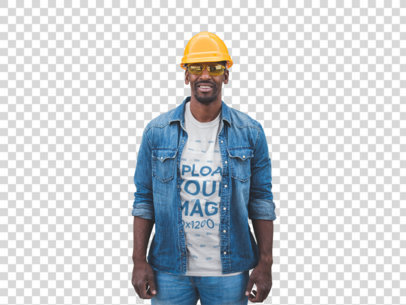 Transparent Smiling Man Wearing a T-Shirt Mockup and a Yellow Hard Hat a20453