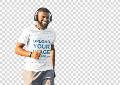 Transparent T-Shirt Mockup of a Happy Man Running While Listening to Music 38817-r-el2