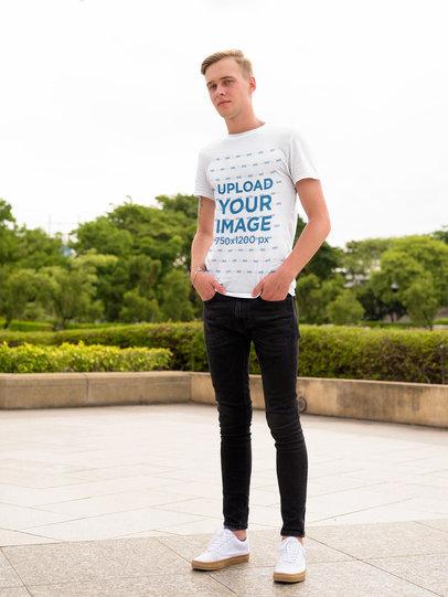 Transparent Mockup of a Tall Man Posing with a Basic T-Shirt 40429-r-el2