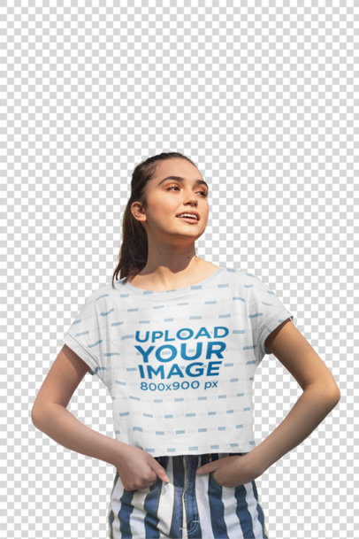 Transparent Mockup of a Woman Wearing a Crop Top and Striped Shorts 28576
