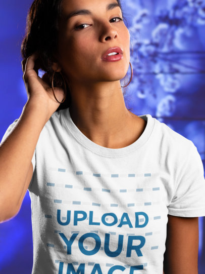 Transparent Round Neck Tee Mockup of a Woman Touching her Hair 18589