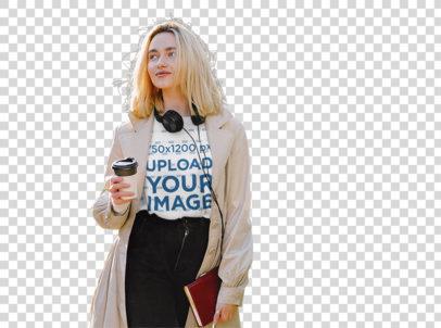 Transparent Tee Mockup of a Trendy Woman Walking on Street 43848-r-el2