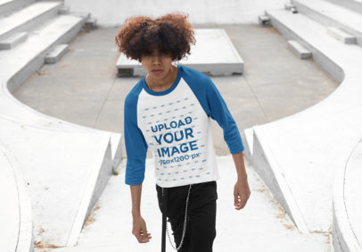 Transparent Mockup of a Man with Natural Hair Wearing a Raglan Tee with Three-Quarter Sleeves 30208